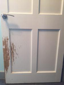 scratched door